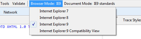 IE9 ブラウザモード