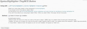SyntaxHighlighter TinyMCE Button v0.4の設定画面