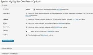 Syntax Highlighter Compressの設定画面